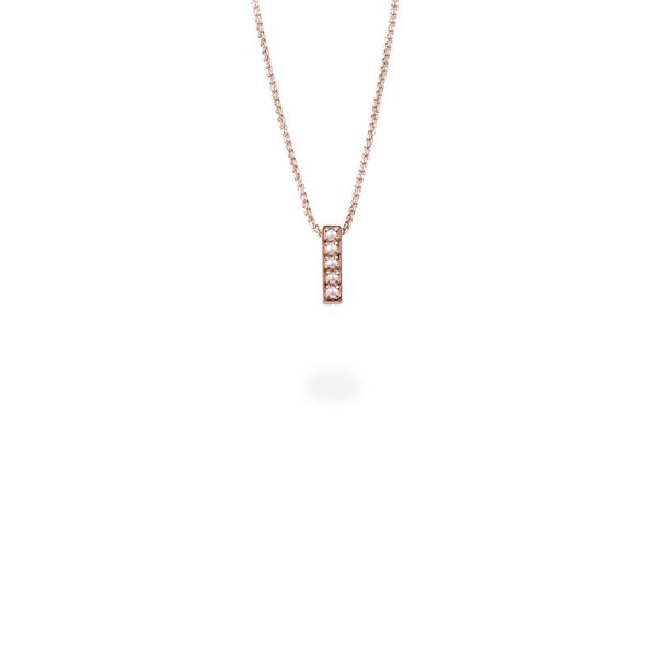 pearls bar pendant necklace stainless steel pendentif acier inoxydable MIA T219P001