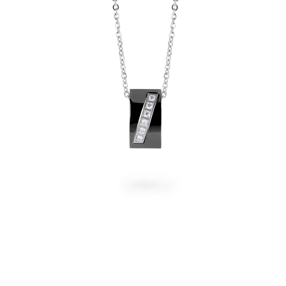 black rectangle pendant necklace stones T318P001ARNO MIAJWL