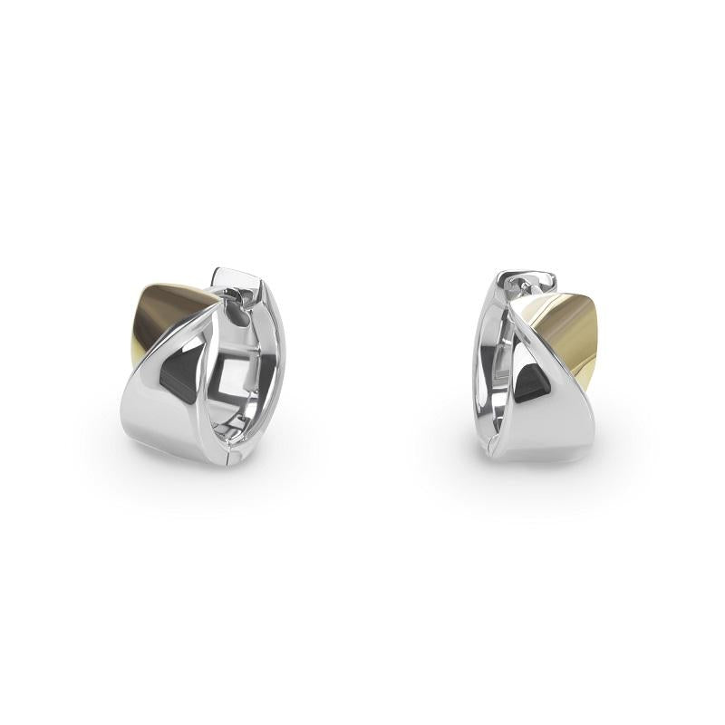 gold silver modern twisted huggie earrings T 416E003ARDO MIAJWL