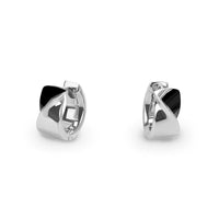 black silver modern twisted huggie earrings T 416E003ARNO MIAJWL