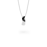 silver black twisted modern pendant necklace T416P004ARNO MIAJWL