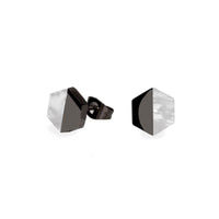 black geometric stud earrings for women