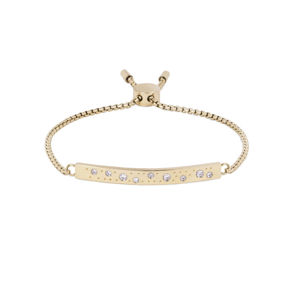 stainless steel gold adjustable bracelet stones plate