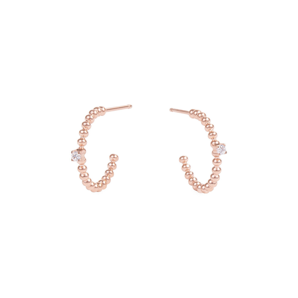rose gold small beads hoop earrings stone stainless steel MIA petites boucles d'oreilles or anneau billes pierre acier inoxydable T419E004DORO