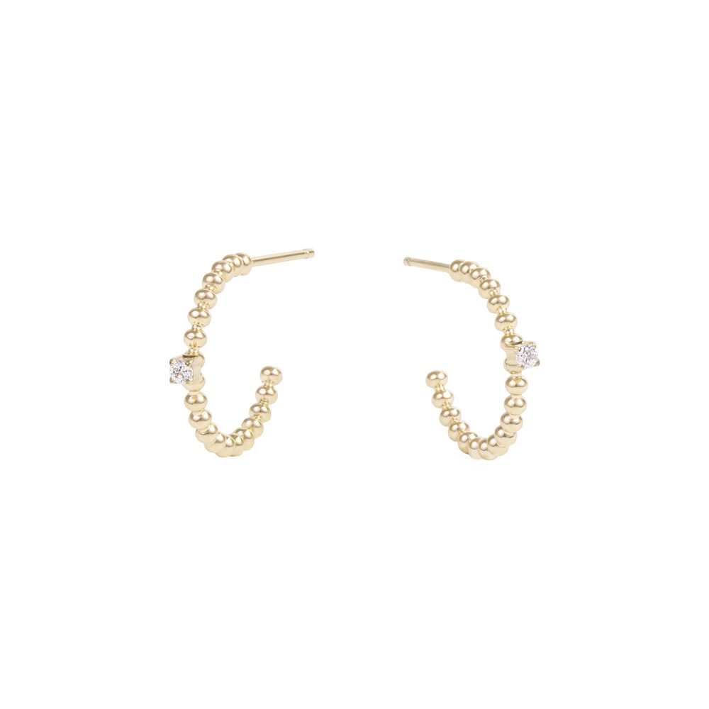 gold small beads hoop earrings stone stainless steel MIA petites boucles d'oreilles or anneau billes pierre acier inoxydable T419E004DO