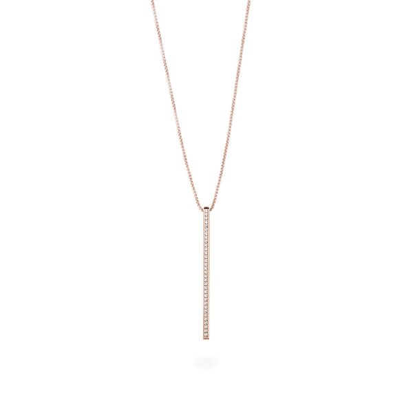 long necklace bar with stones stainless steel MIA collier barre pierres acier inoxydable T419N002DORO