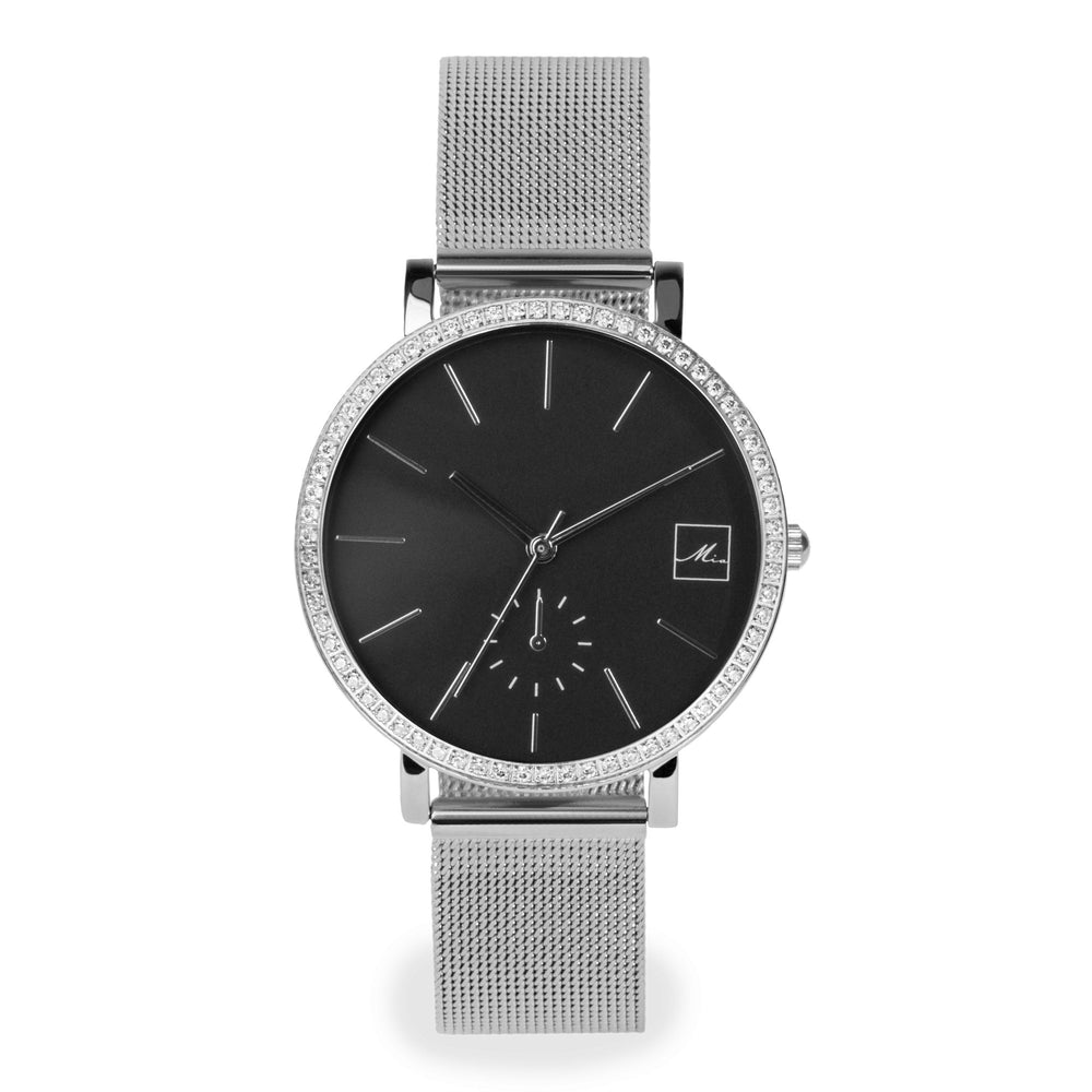 minimal silver black watch with stones