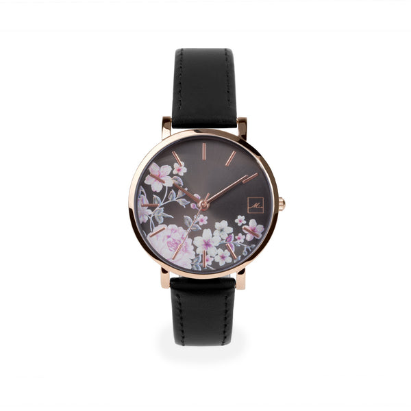 black leather watch with flowers dial W119M01NO MIA Jewelry