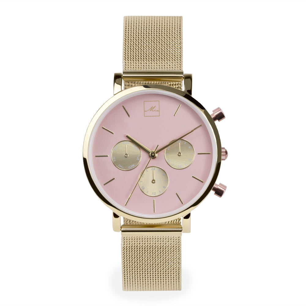 minimal gold chrono pink dial watch women