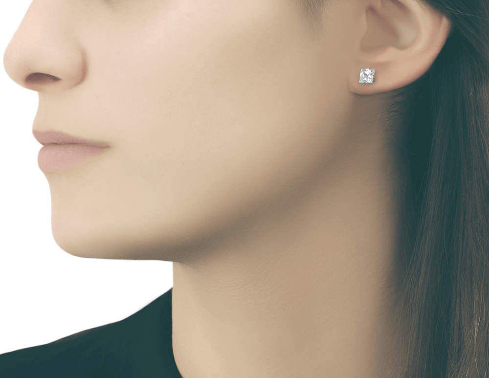 Stainless 8 mm square cz stud earrings
