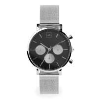 minimal chrono watch women silver black