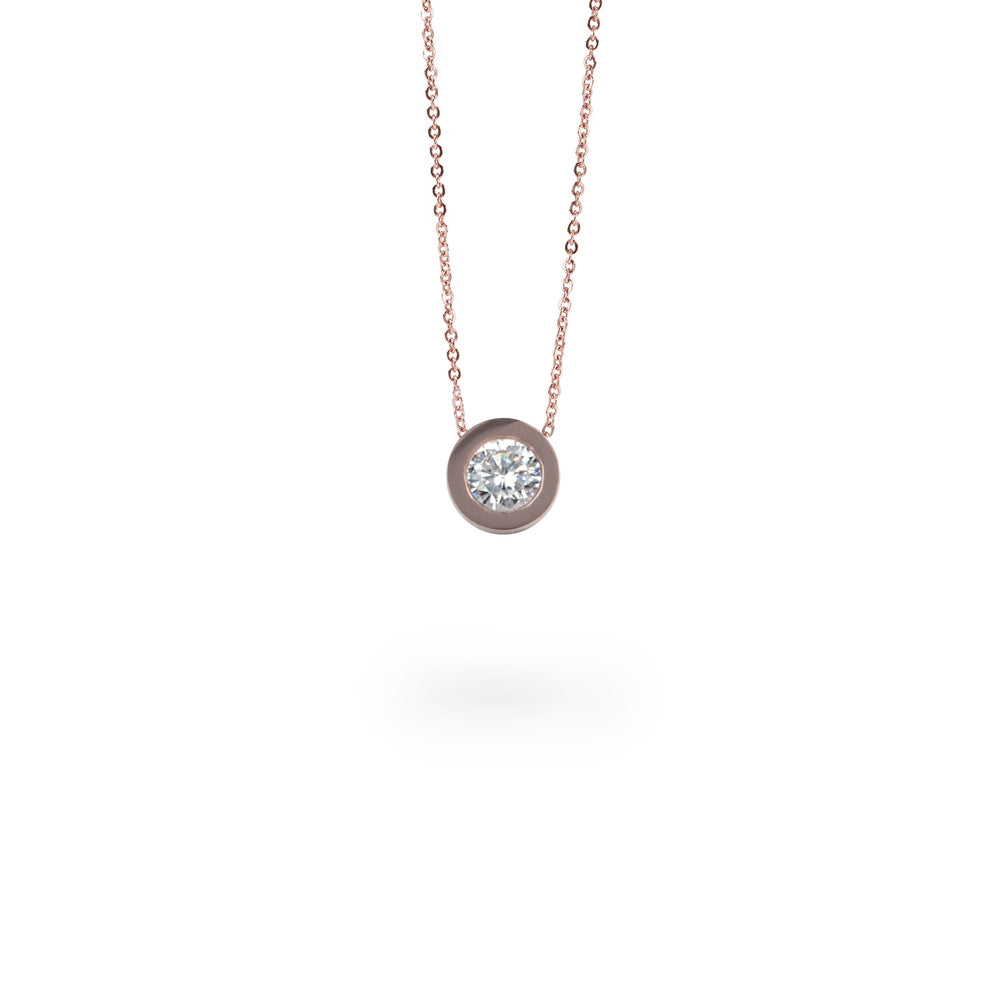 rosegold round stone pendant necklace hypoallergenic