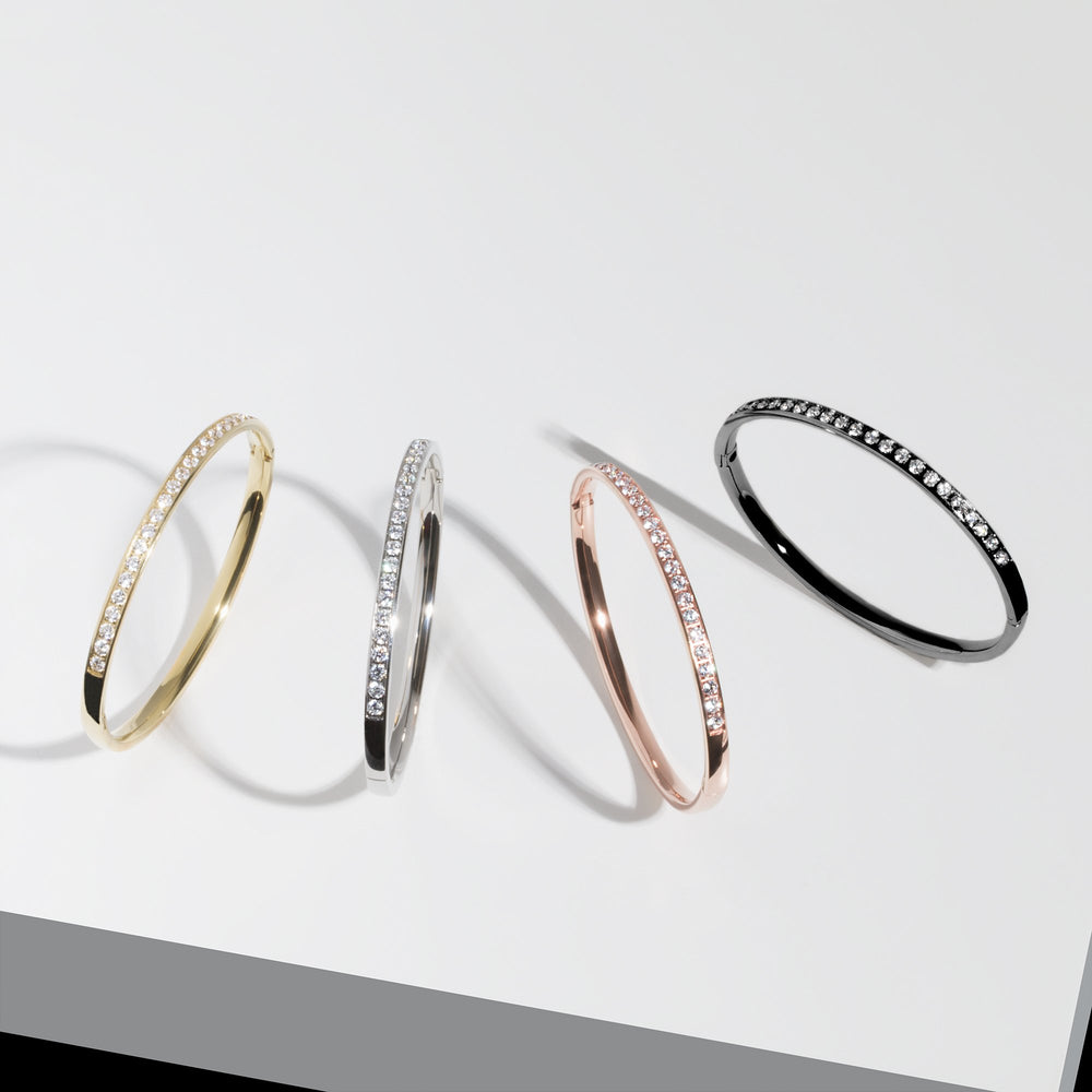 Stainless half eternity bangle