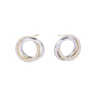 stainless steel circle earrings with stones hypoallergenic T119E009DO MIAJWL