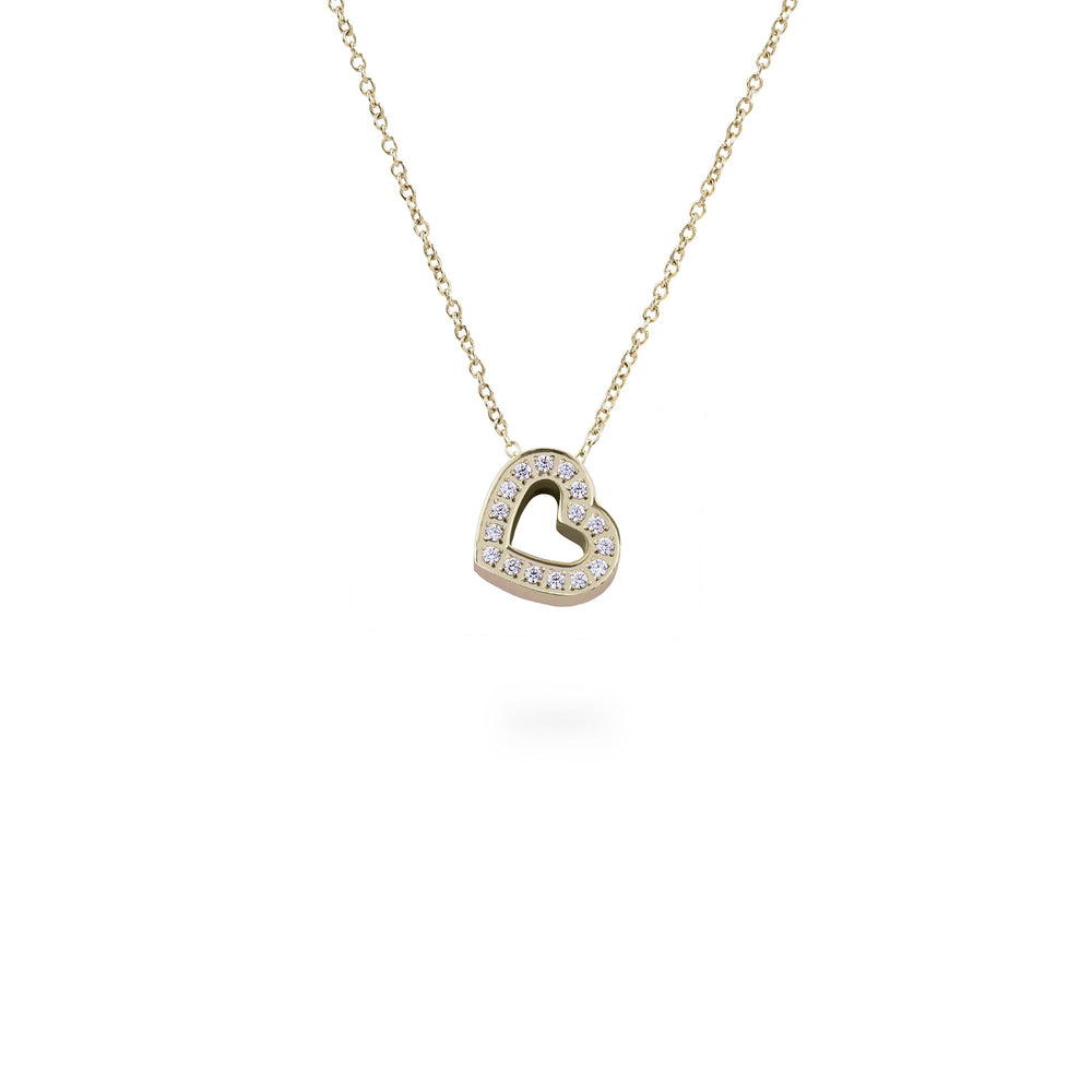 gold heart pendant necklace stainless steel
