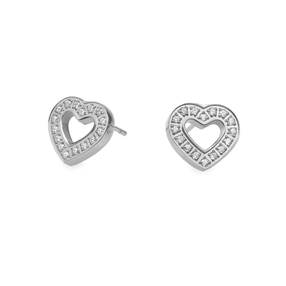 hypoallergenic heart with stones earrings