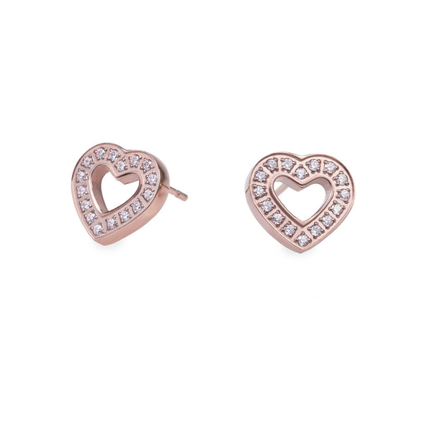 rose gold heart earrings with stones