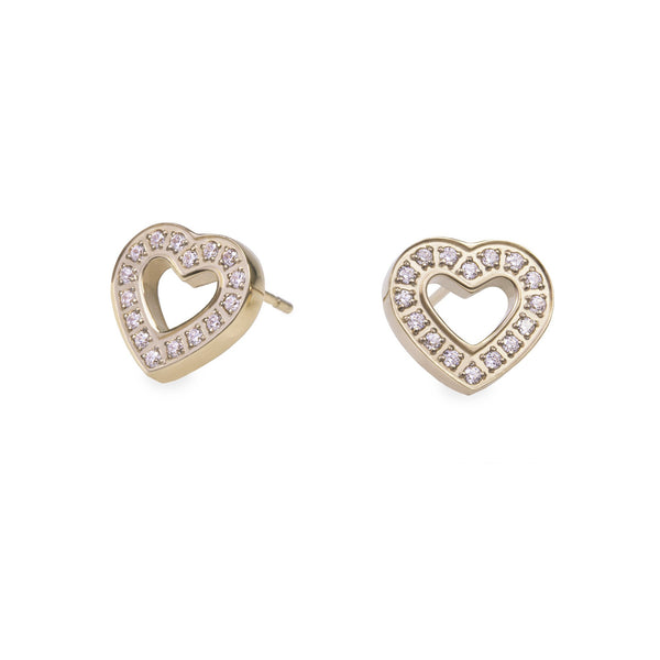 hypoallergenic gold heart earrings with stones