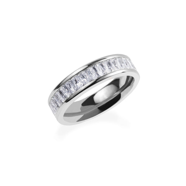 stainless steel eternity ring with rectangle stones