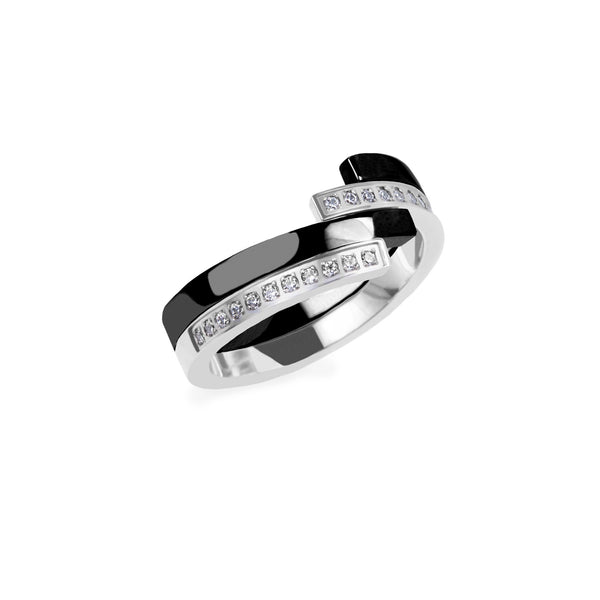 black silver modern ring stones stainless steel