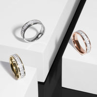 gold eternity ring with rectangle stones
