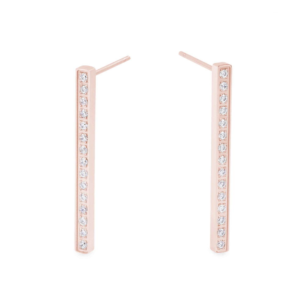 rose gold stainless steel long bar earrings stones T119E010DORO MIAJWL