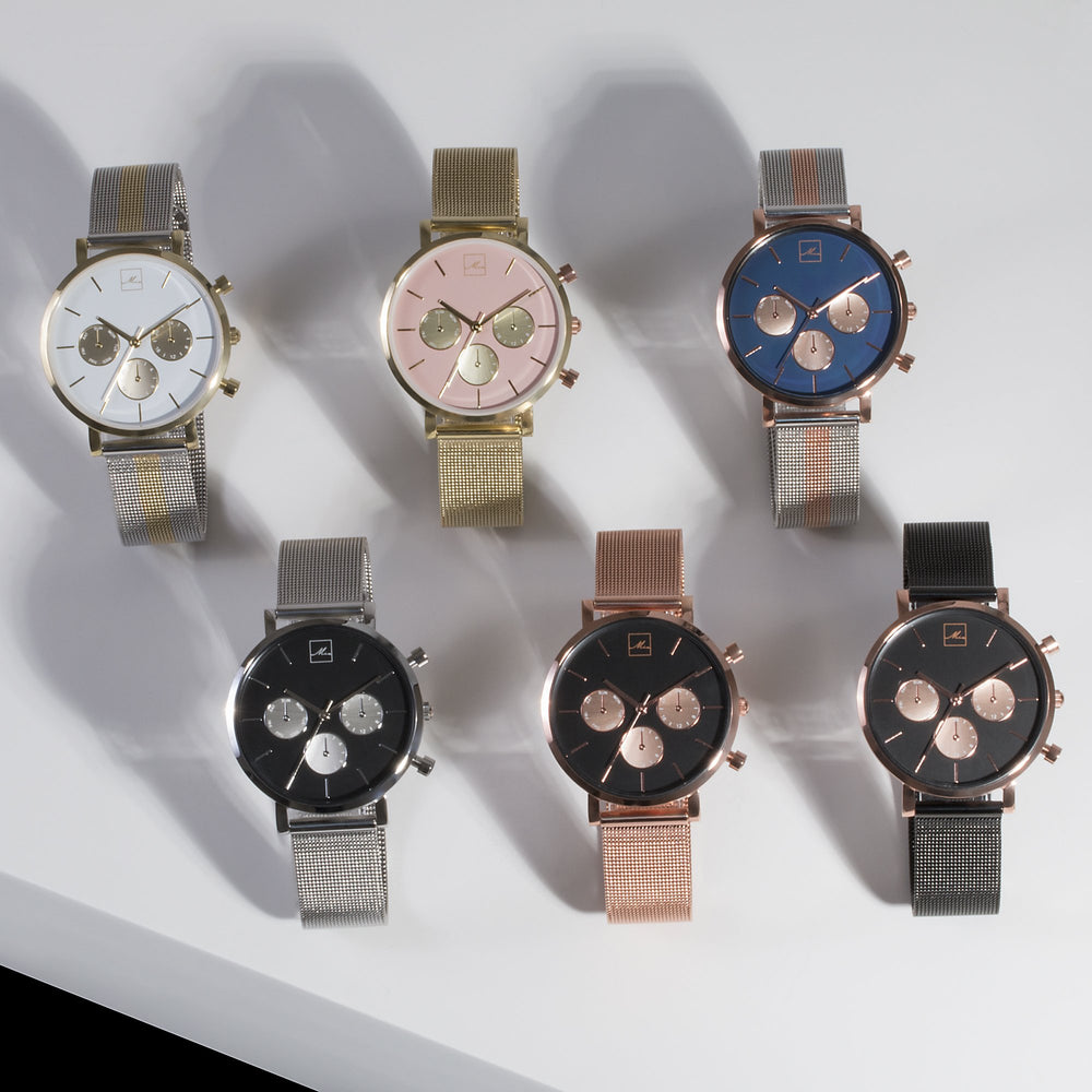 minimal rose gold black chrono watch women