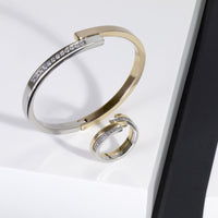 gold silver bangle bracelet stones stainless steel