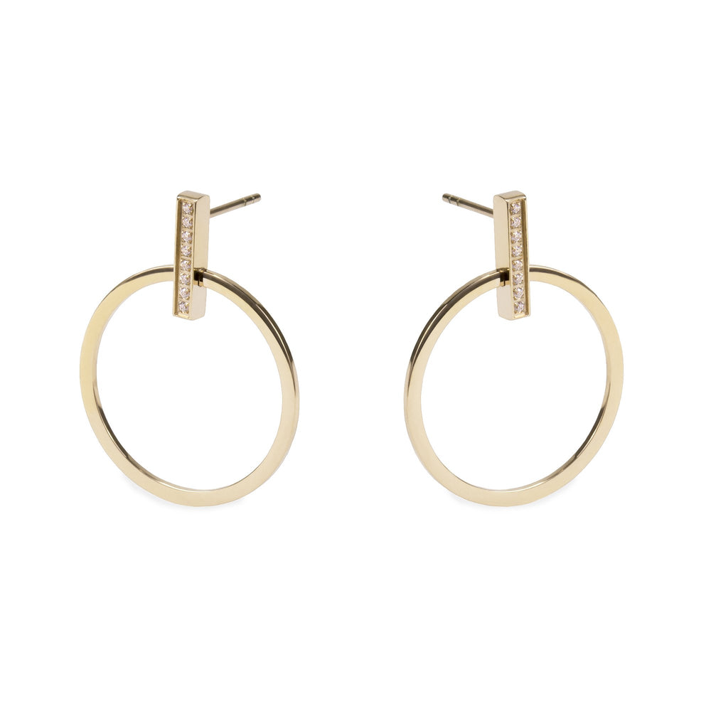 gold minimal circle earrings for women