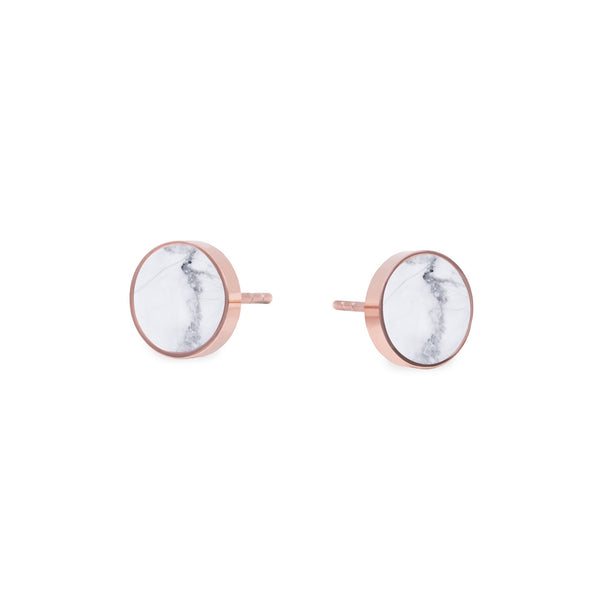 round white marble stud earrings
