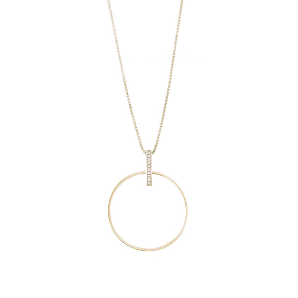 gold circle long necklace hypoallergenic