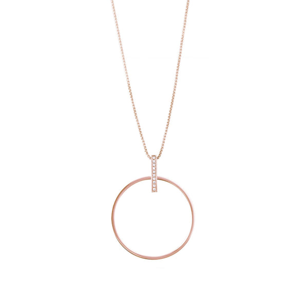 rose gold circle long necklace hypoallergenic