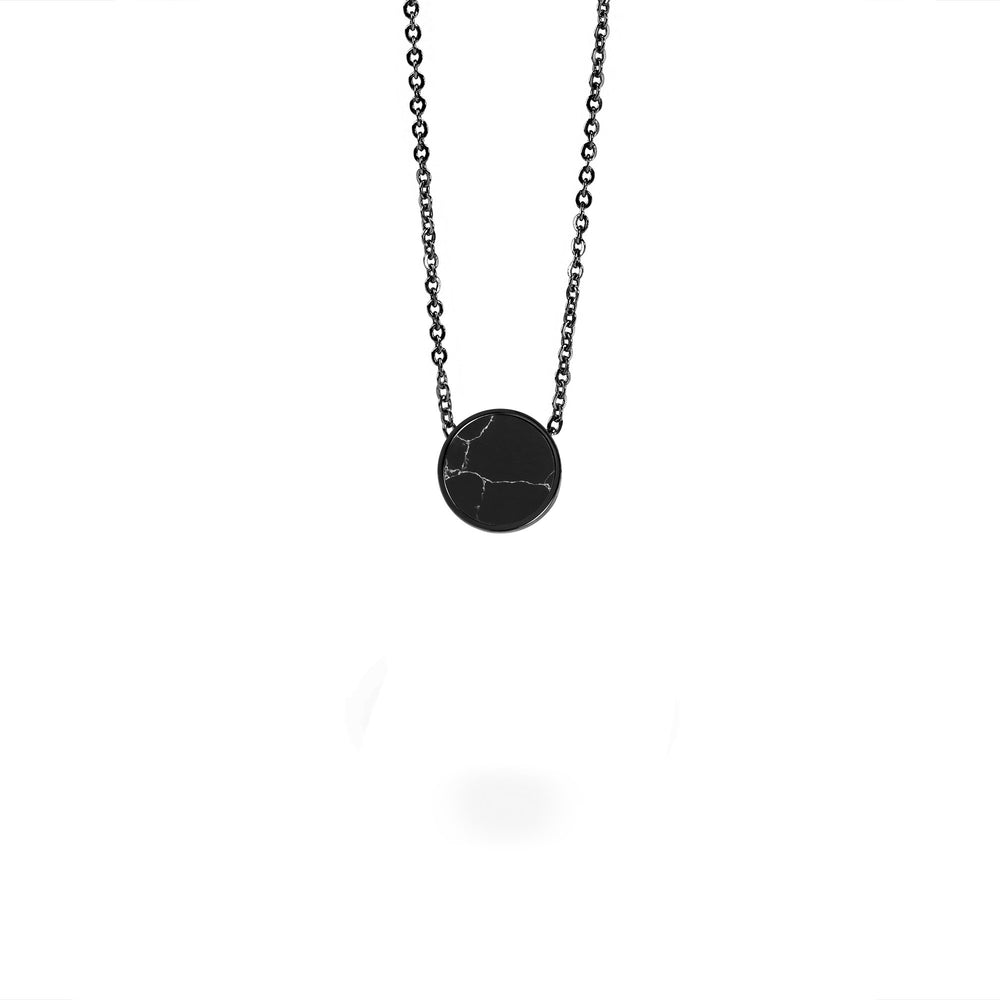minimal black marble pendant necklace