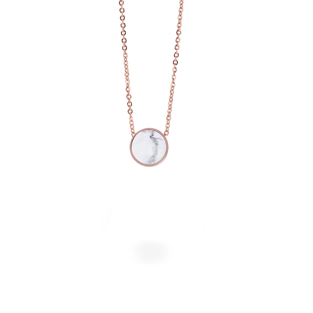 minimal round white marble necklace