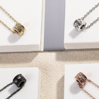 stainless steel black delicate pendant necklace stones