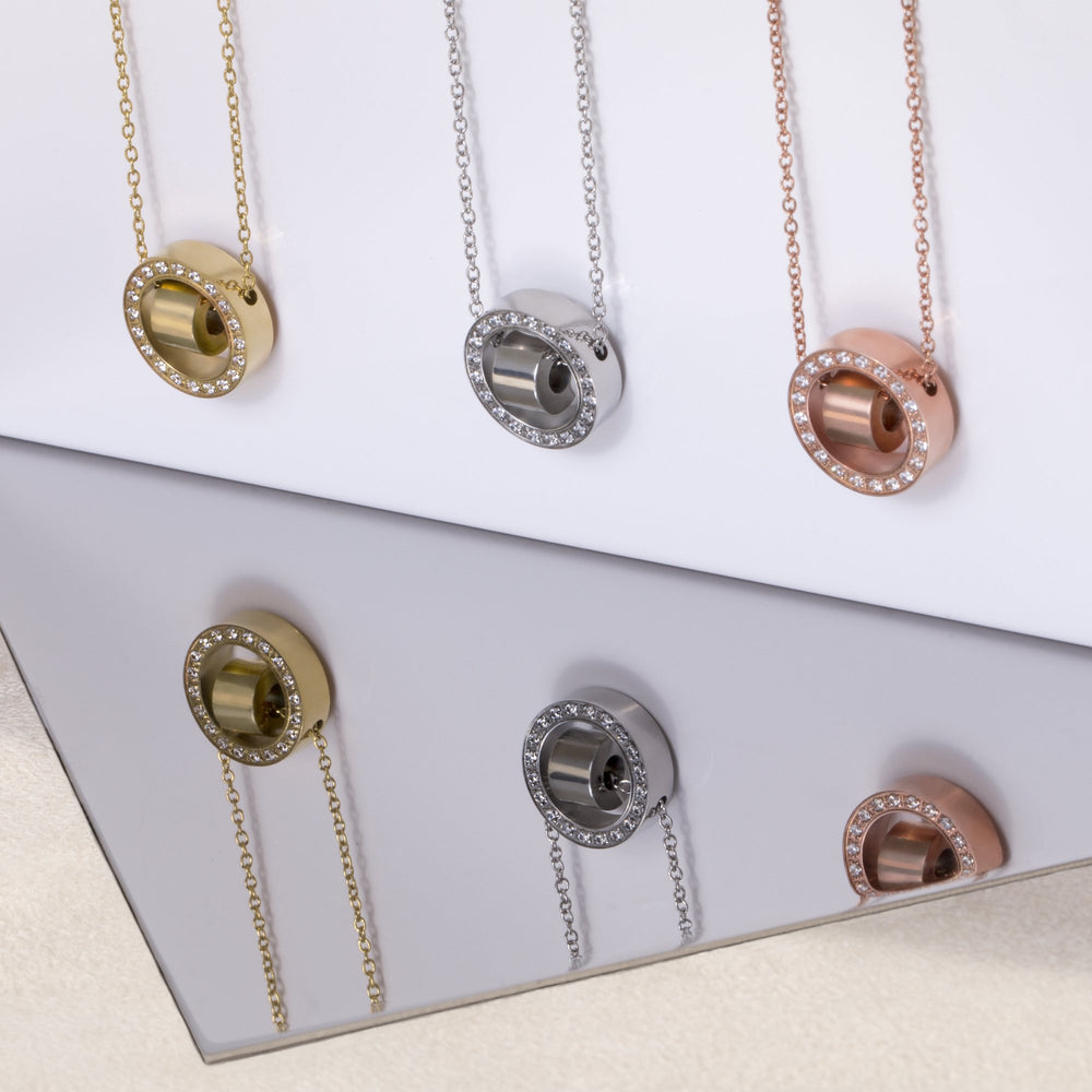 stainless steel rose gold circle hoop stones pendant T418P002DORO MIA
