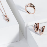 rose gold stainless steel ring stones T416R001DORO MIAJWL