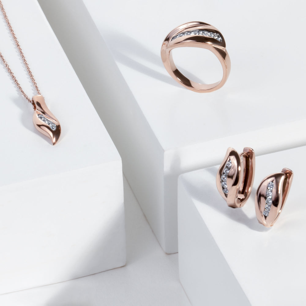 rose gold waved huggie earrings T416E004DORO MIAJWL