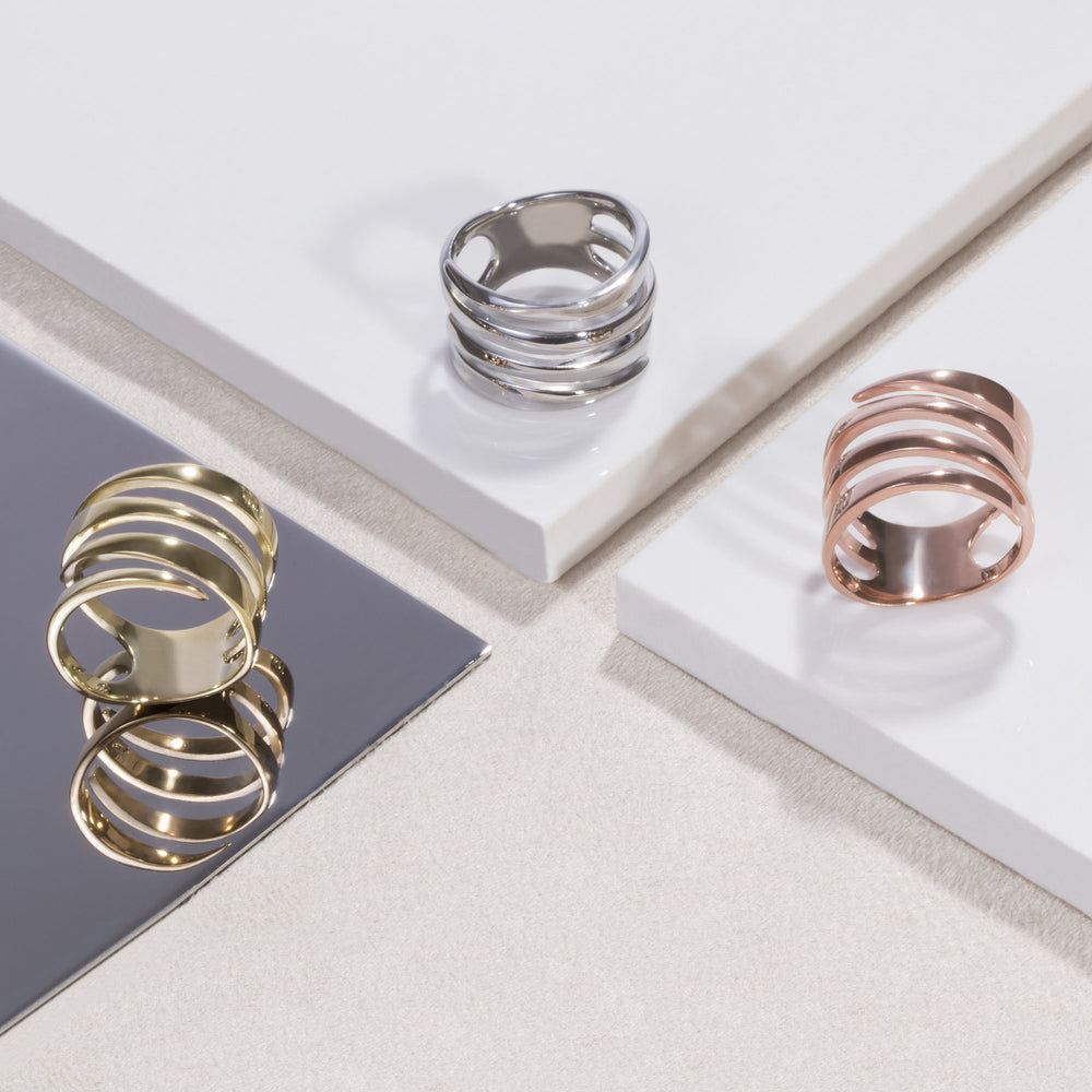 large minimal ring rose gold stainless steel women