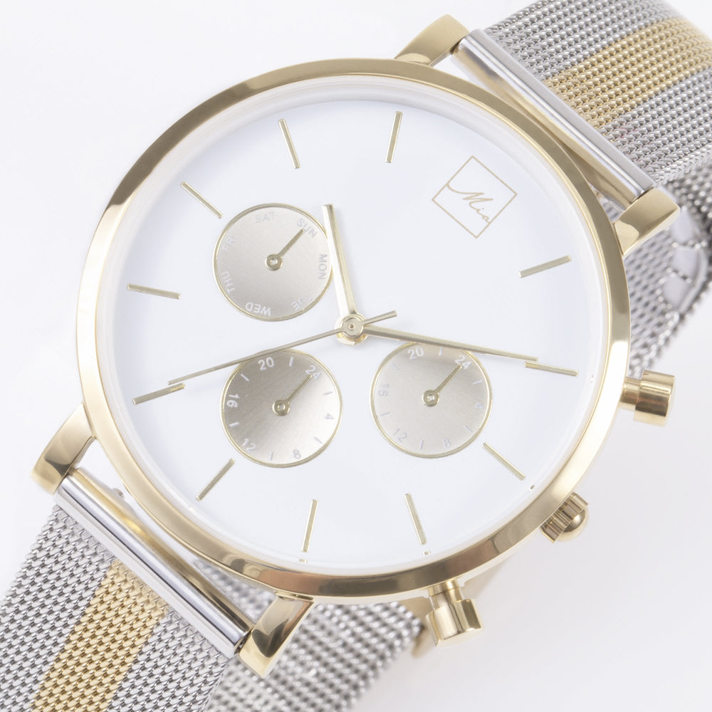 minimal chrono watch women silver gold