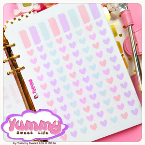 Pastel Dividers Tabs and Square Hearts Stickers (A5)