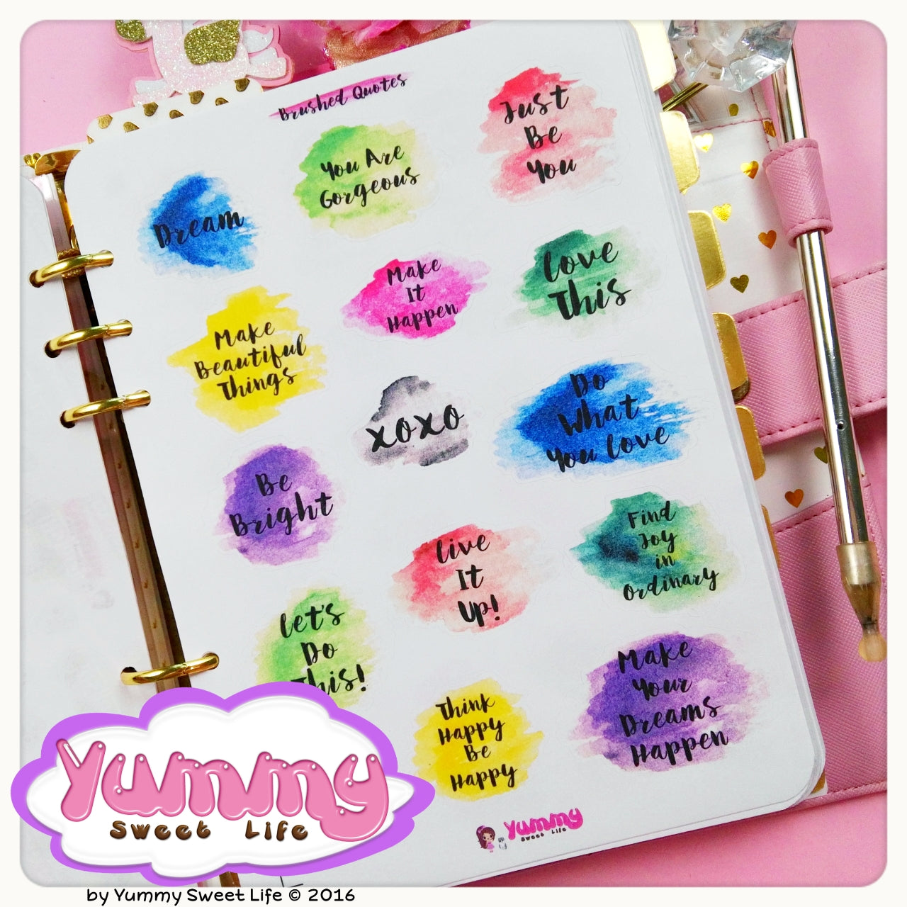 Brushed Watercolor Quotes Big Stickers