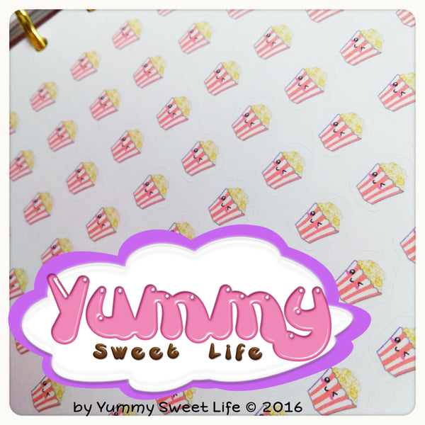 Kawaii Pop Corn Movie Stickers