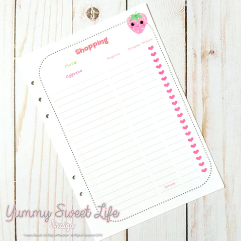 A5 Frola Shopping Tracker insert