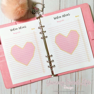 A5 Square Heart Youtube Video Ideas Insert