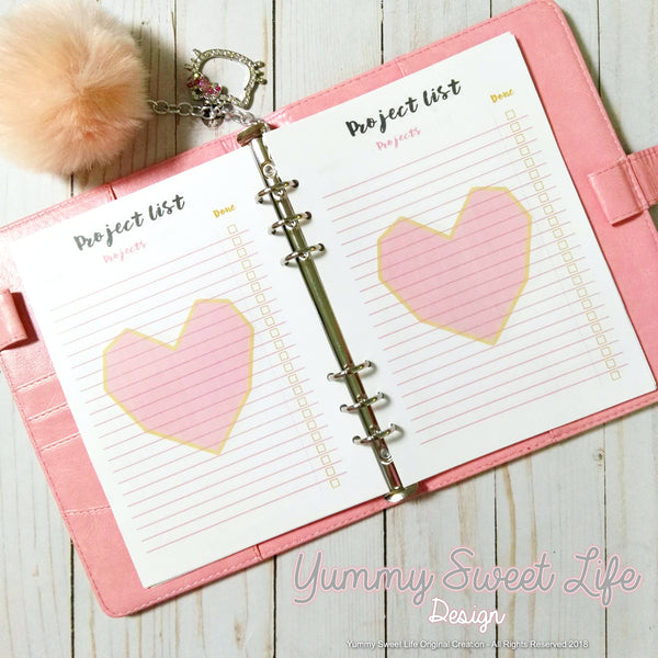 A5 Square Heart Project List Insert