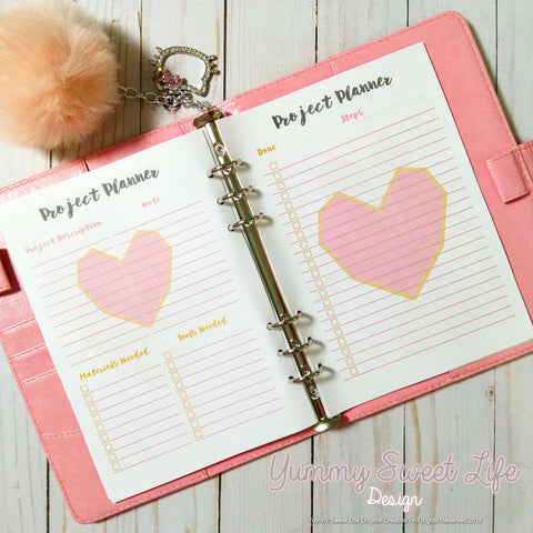 A5 Square Heart Craft Project Planner Insert