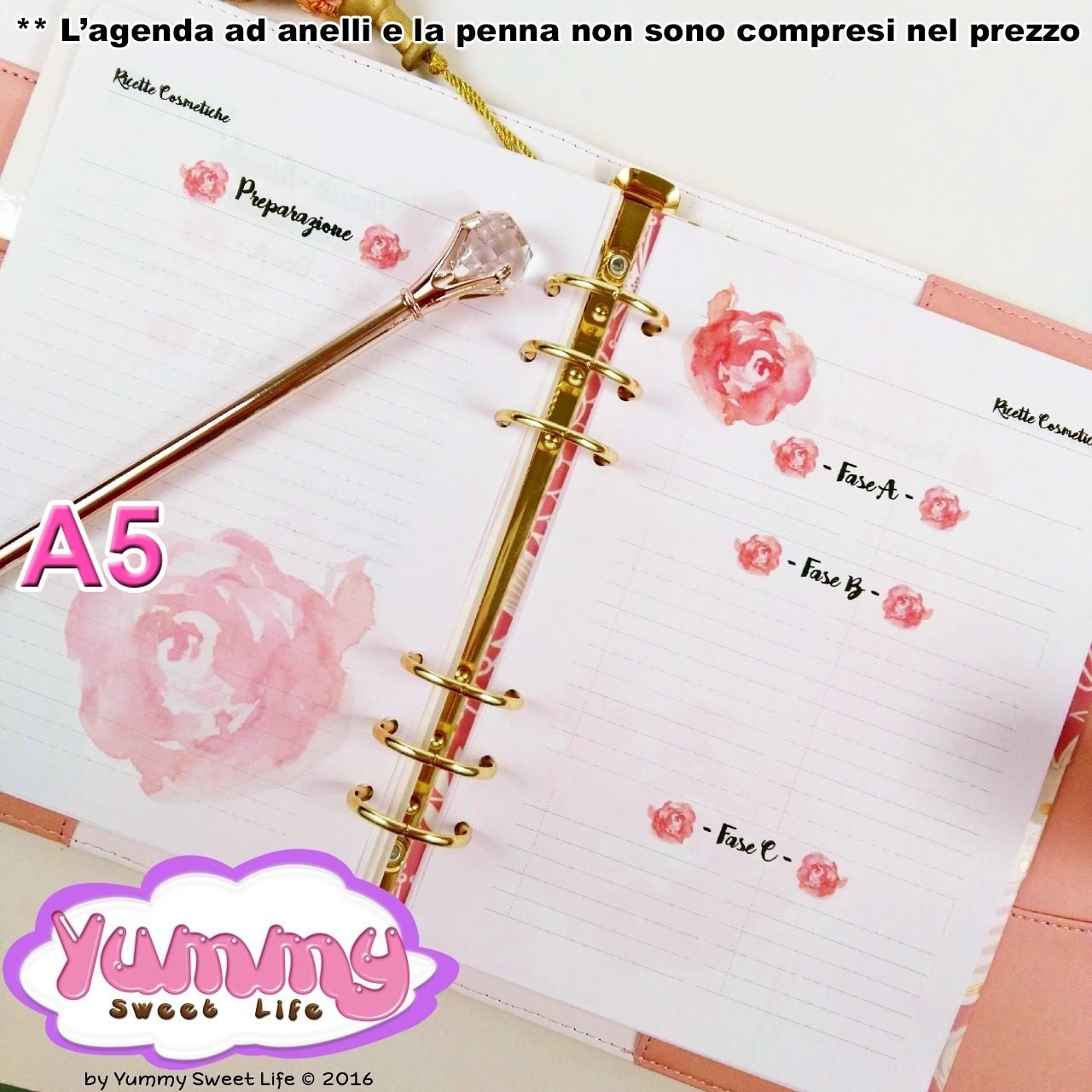 A5 Watercolor Roses Homemade Cosmetics Recipes Insert