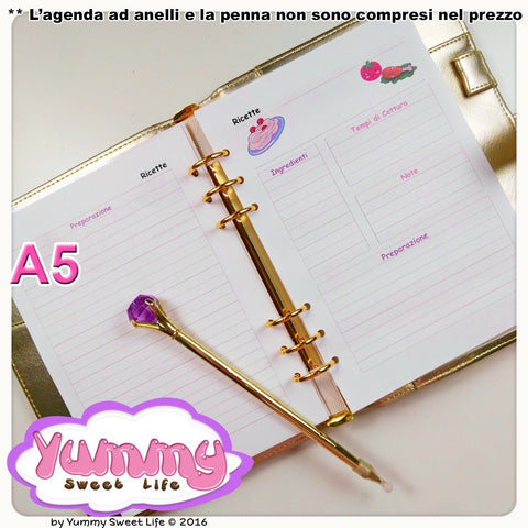 A5 Kawaii Food Recipes Insert