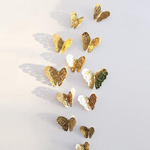 Load image into Gallery viewer, 12/PCS 3D Wall Stickers Hollow  Butterfly Fridge